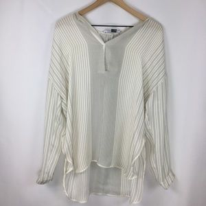 Vince Striped Silk Long Sleeve Blouse